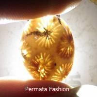 Batu Akik Motif Bunga Teratai Coklat Kode PF033