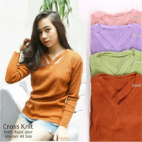 atasan wanita modis roundhand cross sweater baju rajut cewe blouse