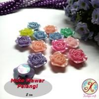 Mote Resin Mawar Pelangi Besar mix warna per lusin