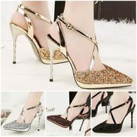 BS-16 4warna,12cm Sepatu pesta impor heels pesta heels gold glitter