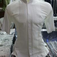 Baju Koko Putih Polos Lengan Pendek Cotton Silk Premium Berkualitas