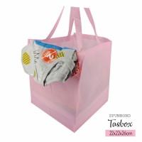 Per 12pc Tas Spunbond 22x22x26cm Kotak Tas box Pink Bingkisan Lebaran