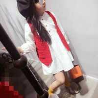 Baju anak perempuan import branded dress barbie white vest rajut red