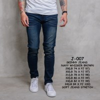 Skinny Jeans Navy Thin Brown Whisker - Navy, 34