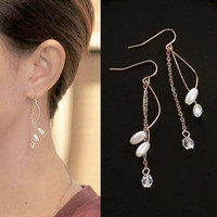 Anting Korea Curve Geometry Long Tassel Pearl Earrings