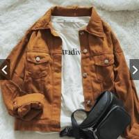 Jaket Wanita Oversize Mustard | Jaket Jeans Cewek | Jaket Denim - L