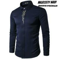 Majessty Maroon | Baju Koko Baru | Kemeja Pria Slim Fit Lengan Panjang