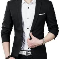 [Blazer Hugo1 black OT] blazer pria katun stretch hitam