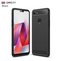 Oppo F7 Case Carbon Bumper Softcase Rugged Armor Softcase