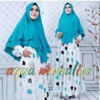 baju muslim monalisa aqua white gamis only