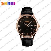 Jam Tangan Pria Analog SKMEI 9091 Black Leather Water Resistant 30M