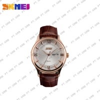 Jam Tangan Pria Analog SKMEI 9091 Golden Leather Water Resistant 30M