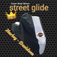 Selimut Body Cover Motor Harley Davidson Variasi Antena + side box - Hitam