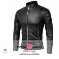 Asesoris motor-jaket biker pria kulit sintetis