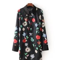 21743 Black Floral Tunic Dress