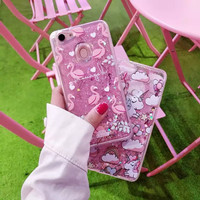 Glitter Pasir Liquid Case Oppo F5/Youth/Plus Unicorn Flamingo Bling