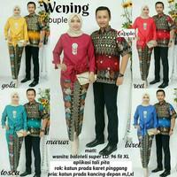 Baju Batik Couple Kebaya Batik Wening Set Rok panjang Hem Kemeja Cowok
