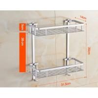 268 Rak Dinding Aluminium serbaguna 2susun size 31,5x14x16cm Pilihan