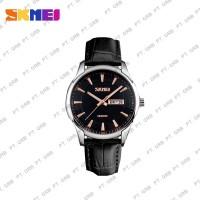 Jam Tangan Pria Analog SKMEI 9125 Black Leather Water Resistant 30M