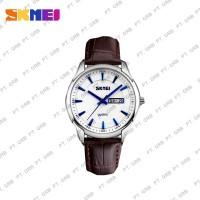 Jam Tangan Pria Analog SKMEI 9125 White Leather Water Resistant 30M
