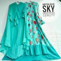 Produksi Baju Muslim #seragamSyari mosscrepe areta blue sky