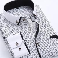 kemeja pria hem ukuran M L XL warna putih motif import platinum class