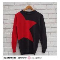 BIG STAR REDS DARK GREY SWEATER / JAKET RAJUT MERAH ABU / KNIT