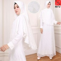 Baju Dress Gamis Muslim WHITE SERIES PREMIUM QUALITY SILK (KODE9074)
