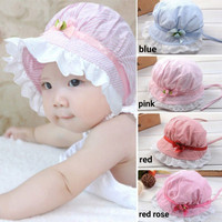 Topi Bayi Perempuan /Topi Anak /Baby Girl Stripes Hat