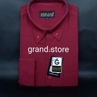 Kemeja Pria Geoland Merah Maroon Polos Lengan Panjang