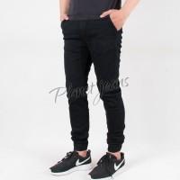 Celana Jogger Pants Bahan Jeans Model Chino / Joger Cowok Hitam 07