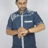 Promo Baju koko Pria Casual Busana Muslim bordir pria Kode AD 132 BIRU