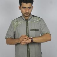 Promo Baju koko Pria Casual Busana Muslim bordir pria Kode AD 132 Abu