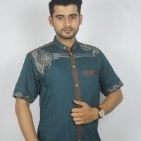 Promo Baju koko Pria Casual Busana Muslim bordir pria Kode AD132 Toska