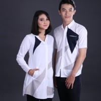 kemeja couple putih kombinasi bagus original Grs distro