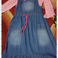Gamis jeans anak/gamis overall anak/setelan anak tanggung