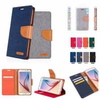 Samsung J1 2016 J120 Canvas Flip Cover Case Casing Dompet