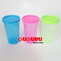 Souvenir Gelas Plastik Tutup ( M ) Tumblr Plastik Colorful Warna Warni