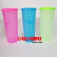 Souvenir Gelas Plastik Tutup (L) Tumbler Plastik Colorful Warna Warni