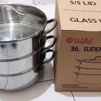 (GO-JEK) Panci Kukus / kalakat Supra Super Steamer36 3susun tutup Kaca