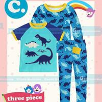 Setelan anak piyama gw 272 C dinosaurus biru