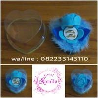 kotak cincin unik murah bentuk bunga mawar biru