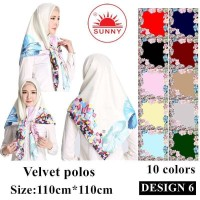Jilbab Segi Empat Satin Velvet Motif Bunga - SUNNY Seri 06 - silver