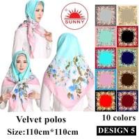 Jilbab Segi Empat Satin Velvet Motif Bunga - SUNNY Seri 05 - coklat muda