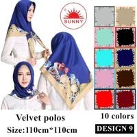 Jilbab Segi Empat Satin Velvet Motif Bunga - SUNNY Seri 09