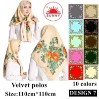 Jilbab Segi Empat Satin Velvet Motif Bunga - SUNNY Seri 07