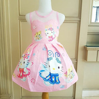 GA2608 HELLO KITTY ANGEL LACE PINK (BAJUKIDDIE) DRESS ANAK PEREMPUAN