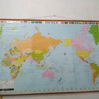 Peta Dunia Bingkai Kayu 2 Meter