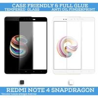 Tempered Glass Xiaomi Redmi Note 4 Snapdragon Full Glue Case Friendly - Putih