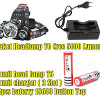 HighPower Outdoor HeadLamp Led T6 CREE / PAKET Head Lamp Senter Kepala